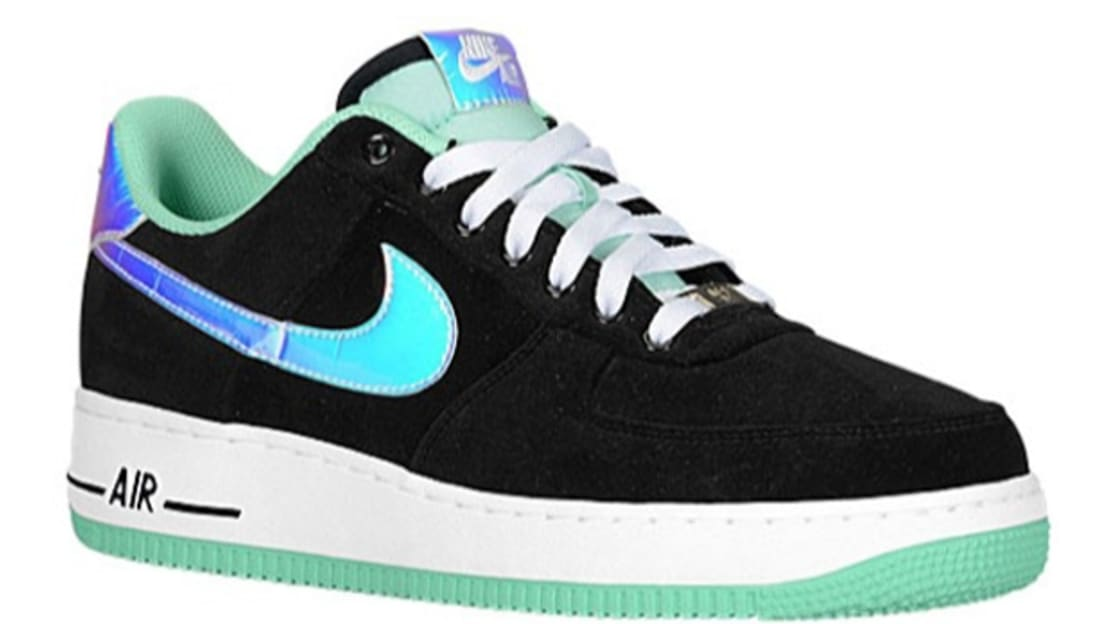 new styles ce8be 92199 Nike Air Force 1 Low Black Shiny Silver-Green Glow