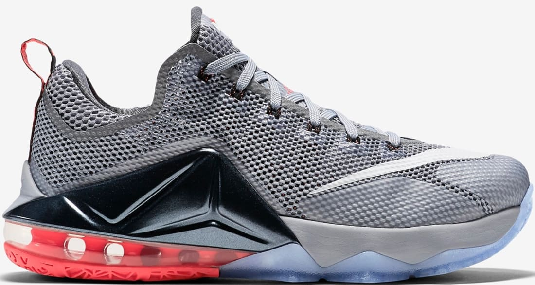 Nike LeBron 12 Low Wolf Grey/White-Dark Grey-Hot Lava