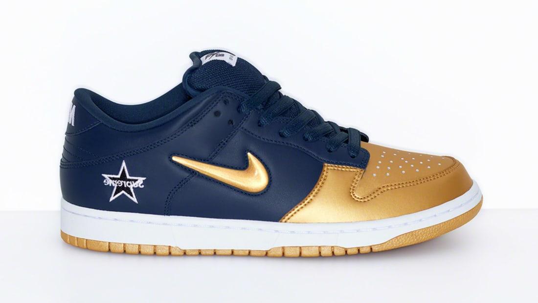 Supreme x Nike SB Dunk Low Metallic Gold/Metallic Gold-Navy-White