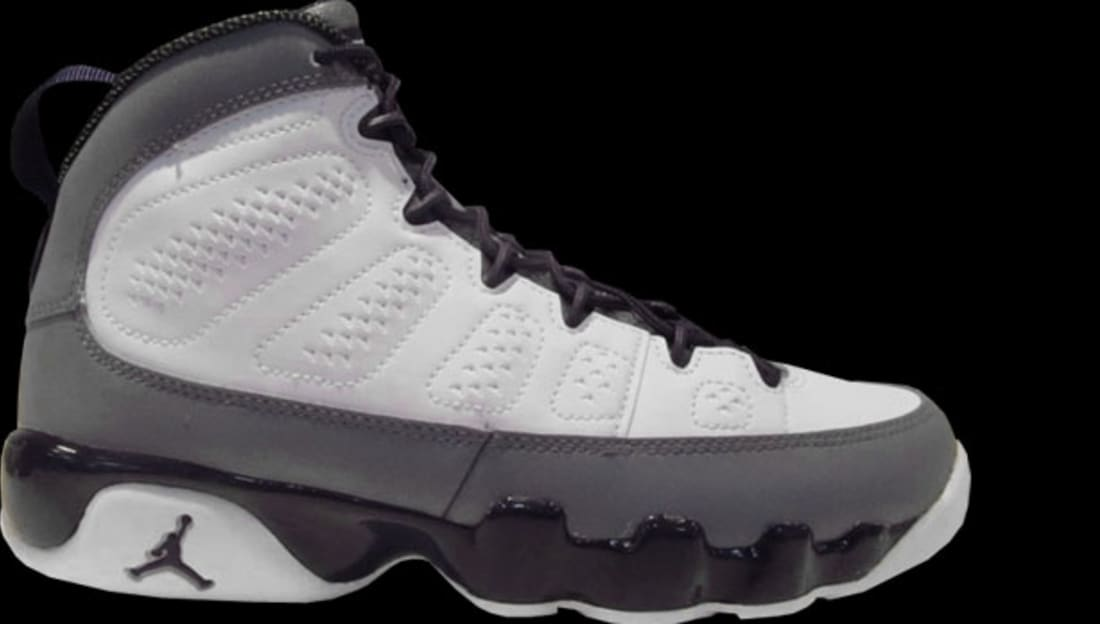 Girls Air Jordan 9 Retro GS White/Imperial Purple-Cool Grey