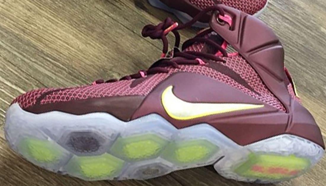 size 40 2f0b1 de99b Nike LeBron 12 Merlot Metallic Silver-Pink Flash-Volt