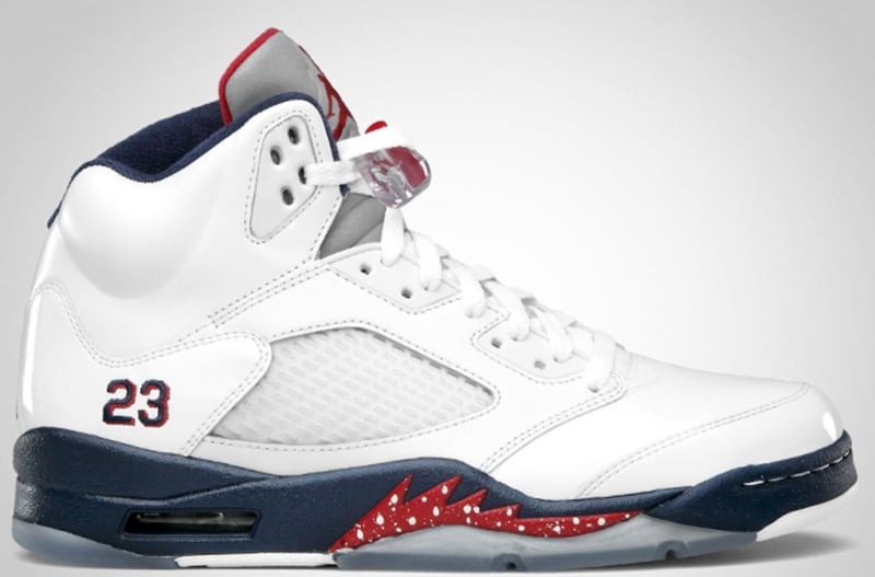 Original Air Jordan 5 Retro Independence Day White Varsity Red Midnight Navy