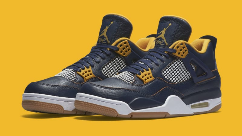 NIKE AIR JORDAN 4 RETRO DUNK FROM ABOVE NAVY GOLD GUM SOLE 308497 425 sz 16