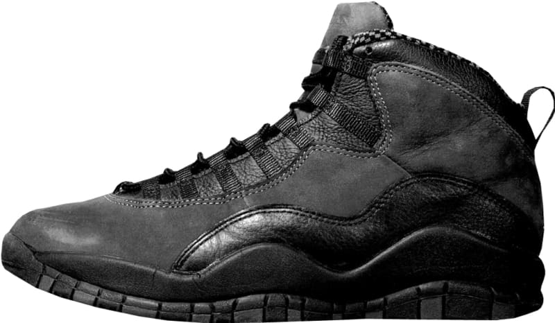 Air Jordan 10 (X). Follow this Model. Style Code: 130209-001. Colorway:  Black/Dark Shadow-True Red