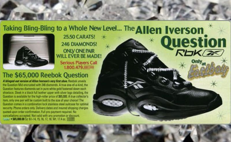 What List About Expensive Basketball Shoes Could Be Complete Without Mentioning The 65 000 Reebok Question Sure You Put Diamonds On Laces Of
