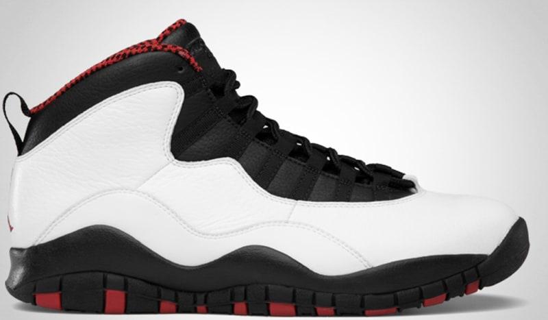 air jordan 10 red black&white background