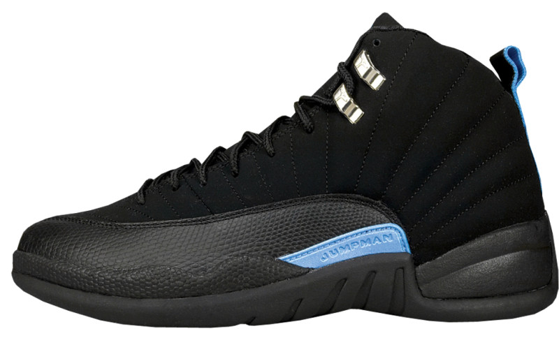 air jordan 12 retro black white university blue