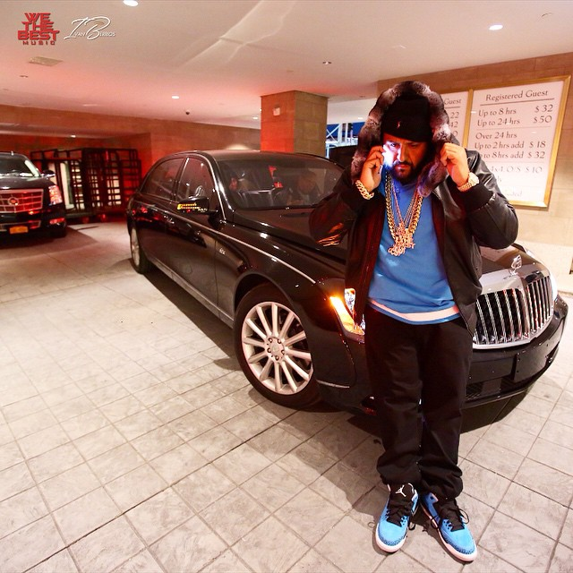 DJ Khaled wearing Air Jordan III 3 Powder Blue
