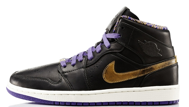 Air Jordan 1 Mid Nouveau BHM Black/Metallic Gold-Court Purple