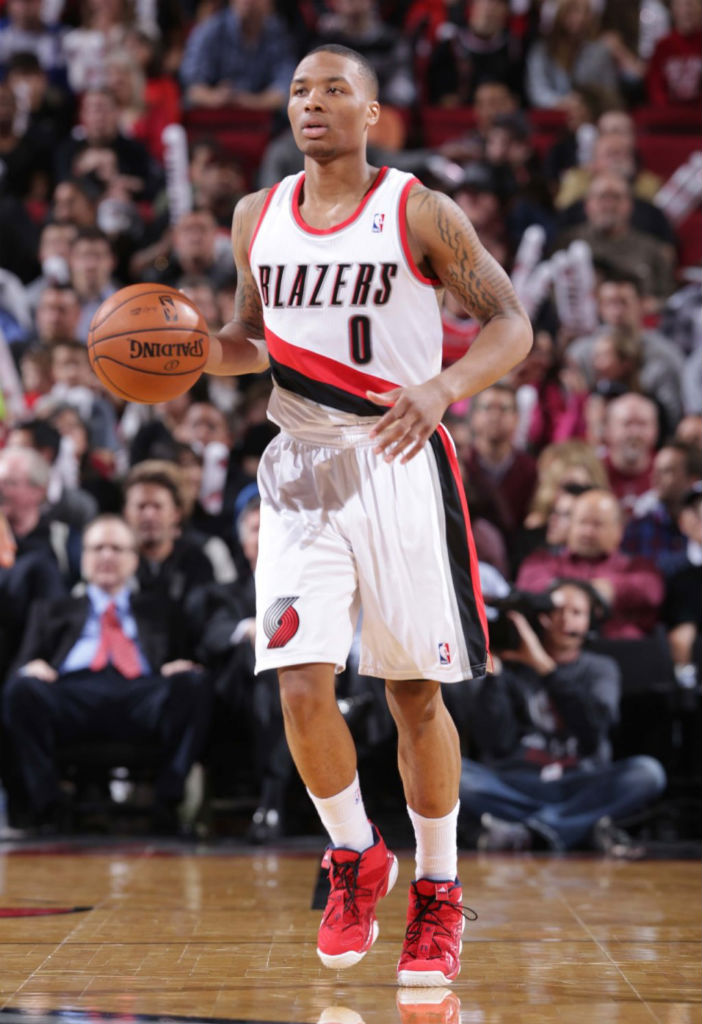 Damian Lillard wearing adidas Top Ten 2000 Light Scarlet