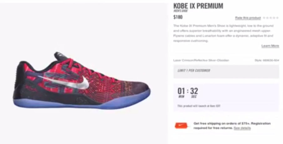 Nikestore Added a Launch Countdown Feature This Morning & It Failed