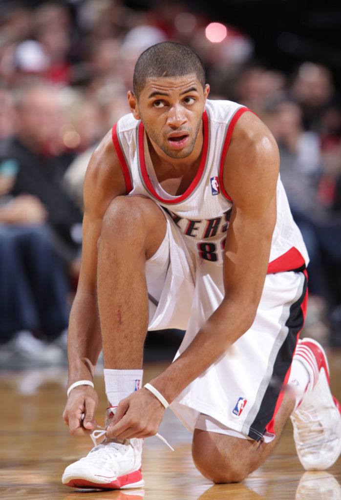 Nicolas Batum wearing adidas adizero Crazy Light 2 White Red