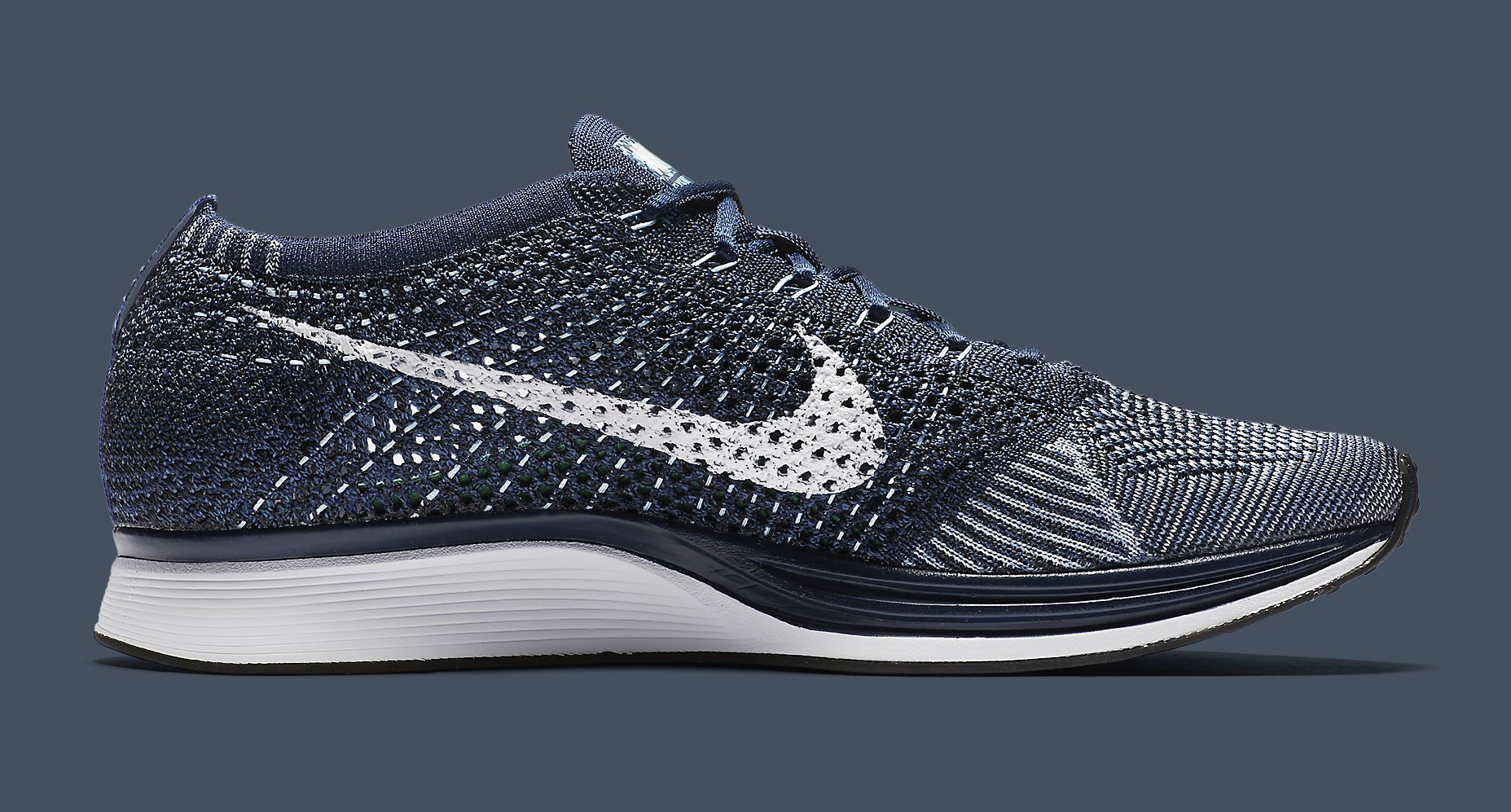 new style 45476 72025 Image via Nike Nike Flyknit Racer Blue Tint White 862713-401 Medial