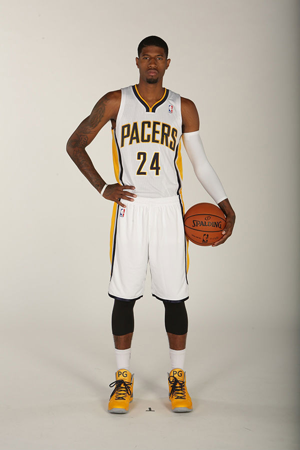Paul George wearing Nike Hyperdunk 2013 PE