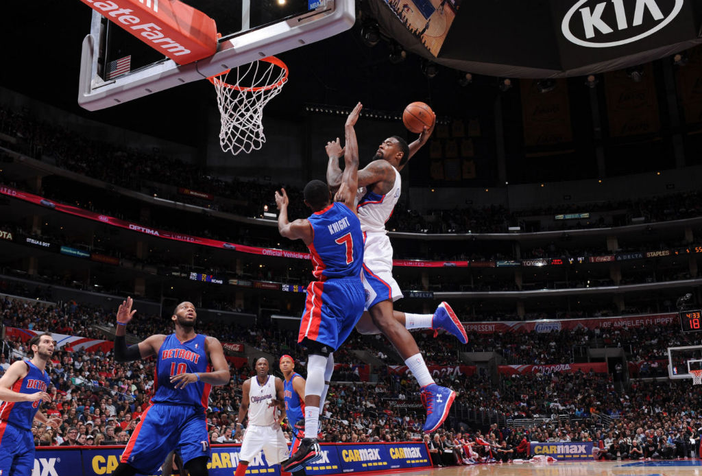 DeAndre Jordan wearing Under Armour Spine Bionic Blue Red (2)