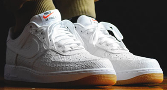 white 'croc' nike air force 1 lows with a gum bottom