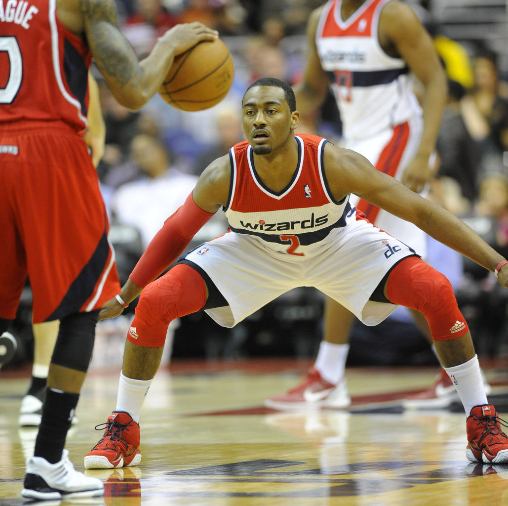 John Wall wearing adidas Top Ten 2000 Red Navy (2)