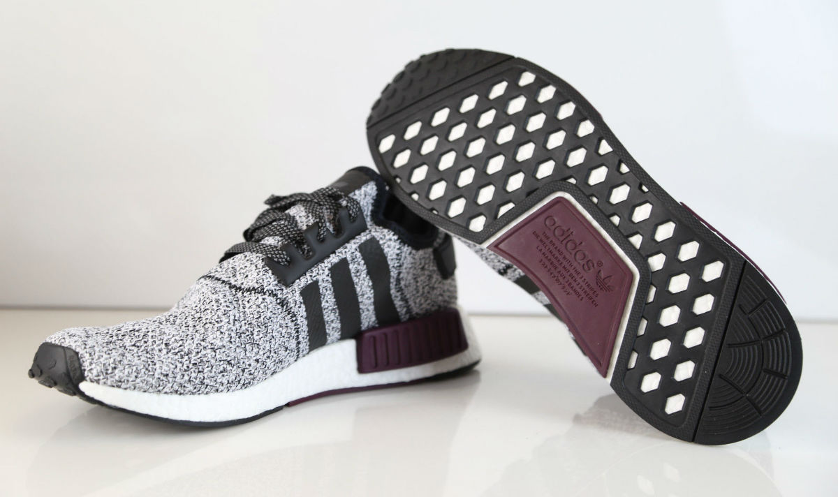 reputable site db497 9f34d Champs adidas NMD White Black Burgundy Sole