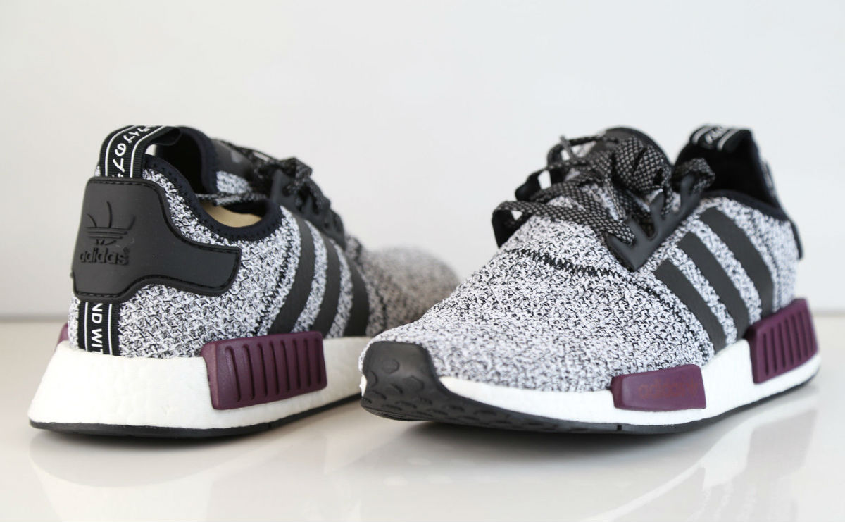 premium selection f683a 69d88 Champs adidas NMD White Black Burgundy Heel