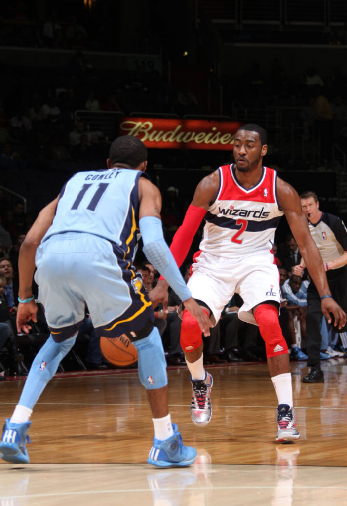 John Wall wearing adidas Crazyquick PE; Mike Conley wearing adidas Rose 3.5 Triple Blue