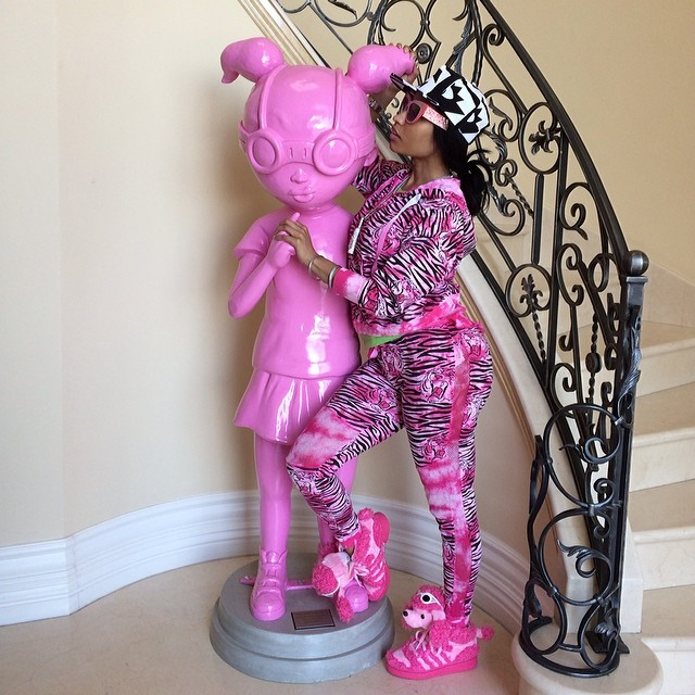 Nicki Minaj wearing adidas Originals JS Pink Poodle