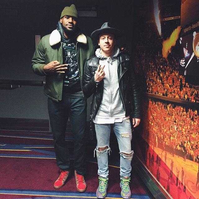 06baeec591fb LeBron James wearing Nike LeBron 12 Lifestyle Brown Red  Macklemore wearing  Nike LeBron XII