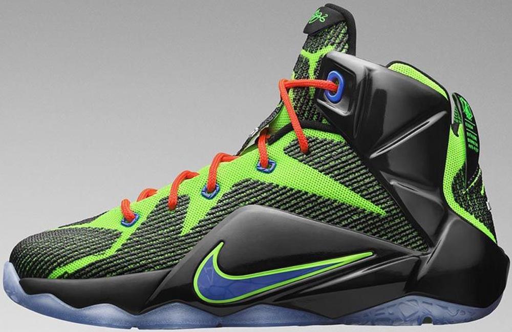 Nike LeBron 12 GS Black/Electric Green-Bright Crimson-Hyper Cobalt