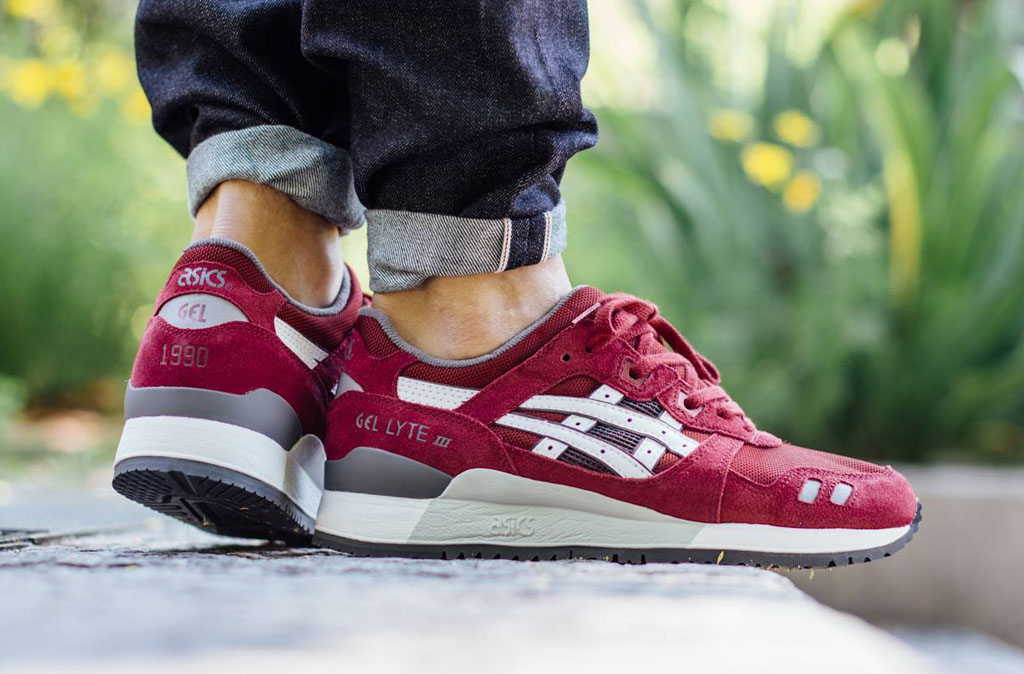 asics gel lyte iii burgundy white