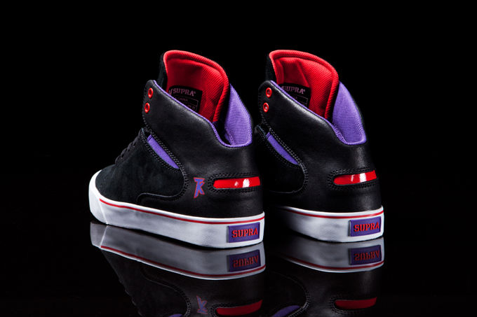 Supra Society Mid Black Suede Purple Red (3)