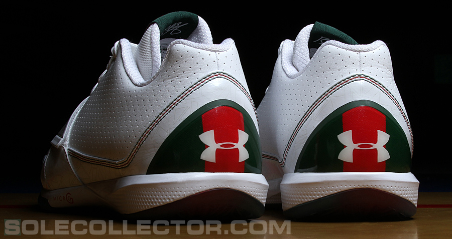 4f24a74181e ... White  Green  Red Under Armour Micro G PEs worn by Brandon Jennings  last night against the Cavaliers