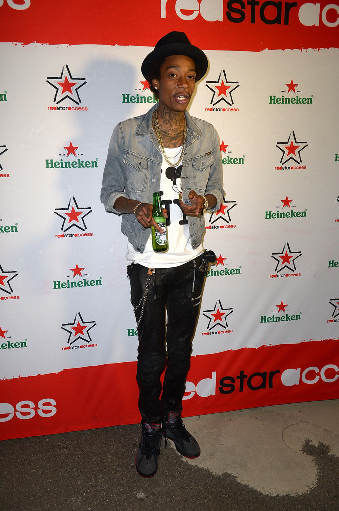 Wiz Khalifa wearing Air Jordan VII 7 Black Red (2)