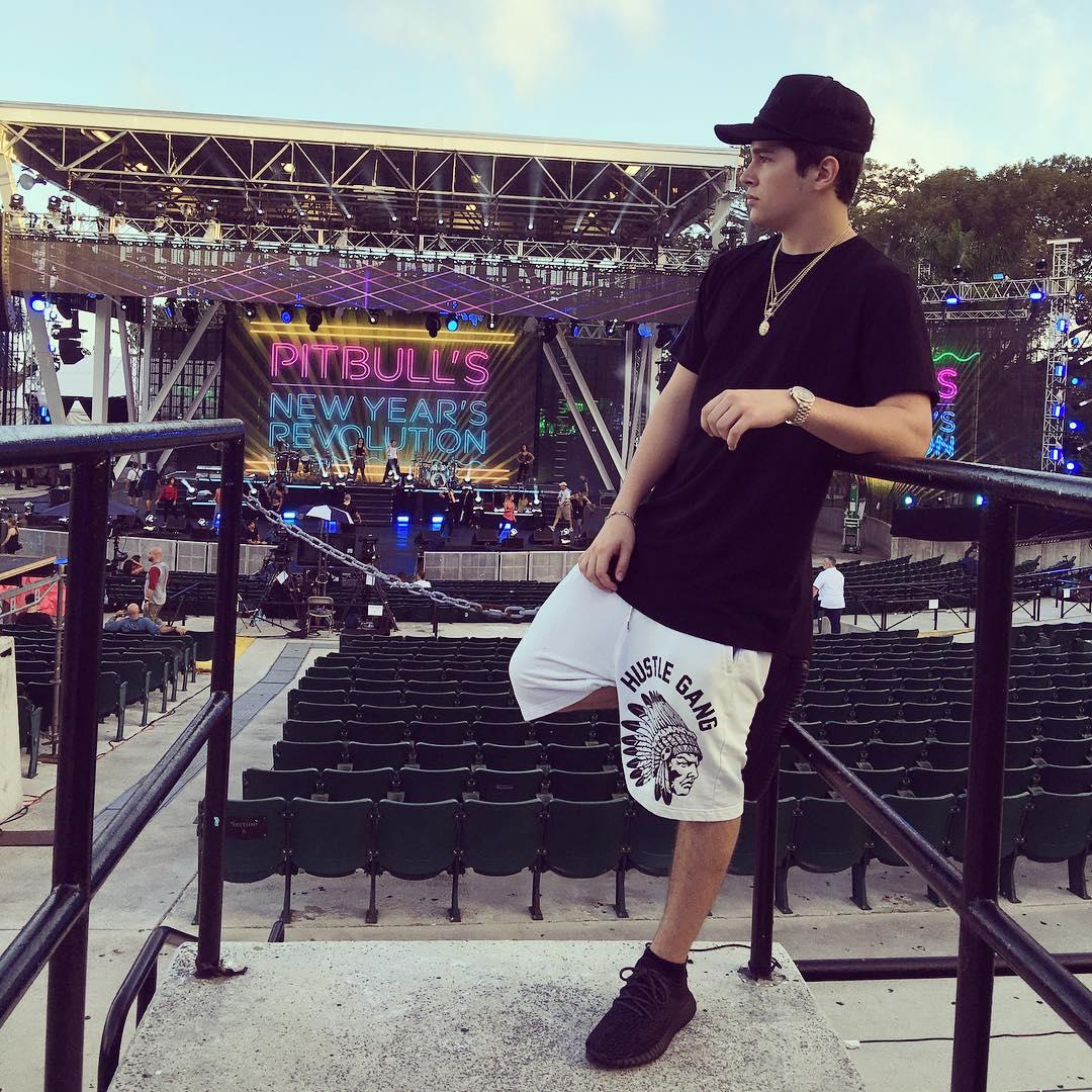 Austin Mahone wearing the \u0027Pirate Black\u0027 adidas Yeezy 350 Boost