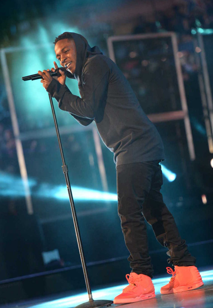 Kendrick Lamar Wears 'Red October' Nike Air Yeezy 2 (7)