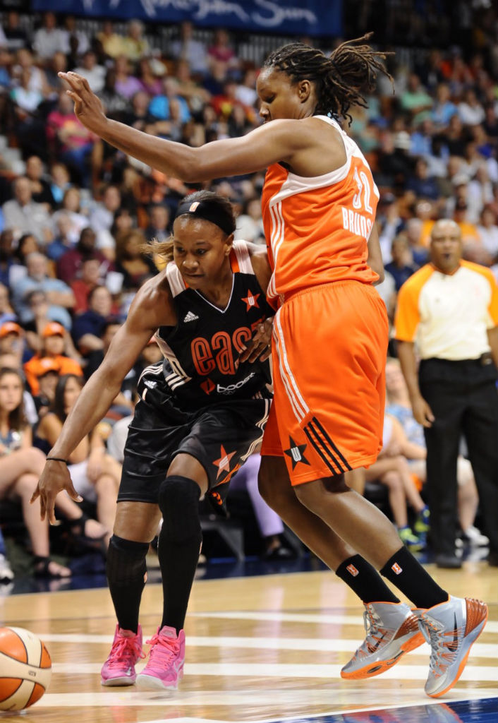 Rebekkah Brunson wearing Nike Hyperdunk 2013 All-Star PE