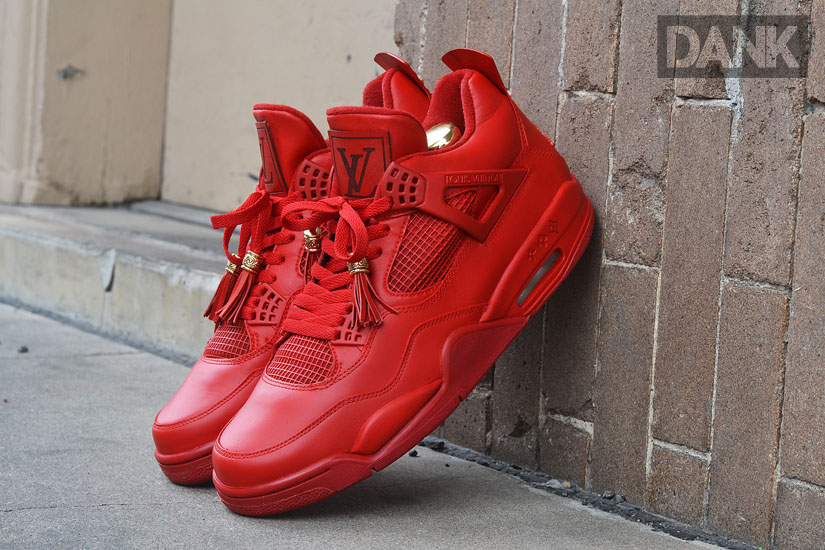 Air Jordan IV 4 Red Don Louis Vuitton by Dank Customs (1)