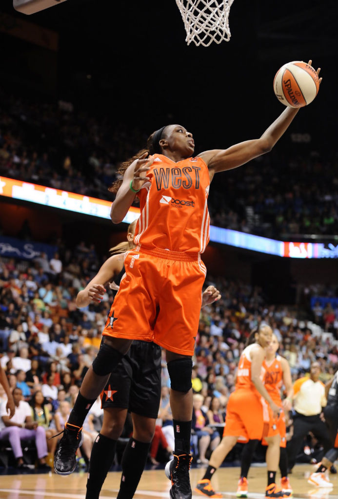 Nneka Ogwumike wearing Nike Hyperdunk 2013 All-Star PE