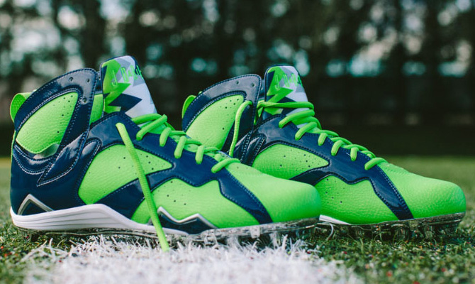 Earl Thomas' Air Jordan VII 7 Super Bowl PE Cleats