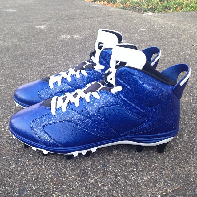 Air Jordan VI 6 Dallas Blue Cleats by Recon for Michael Crabtree (3)