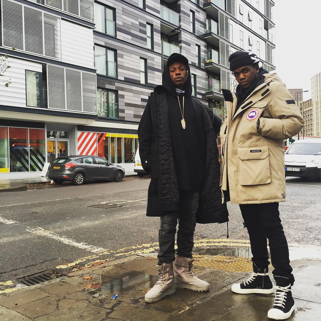 Joey Badass wearing the 'Moonrock' adidas Yeezy 950
