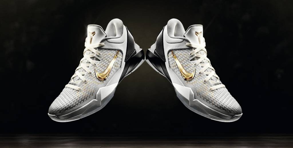 competitive price 12815 3eea4 Nike Zoom Kobe VII Elite Home White Black Metallic Gold 511371-100 (1)