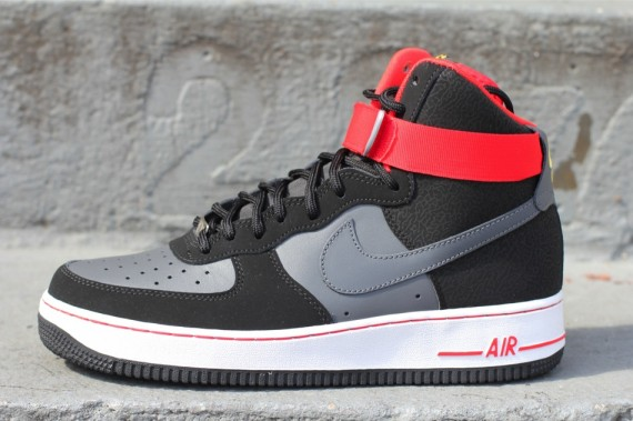 nike air force 1 hi black\/dark grey-fire redfin