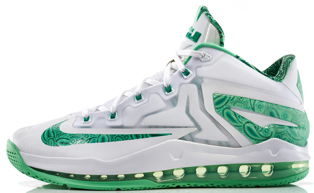 Nike LeBron 11 Low \u0026#39;Easter\u0026#39; 642849-100 White/Light Lucid Green-Metallic Silver