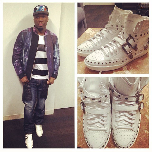 50 Cent wearing Yves Saint Laurent Signature Court Classic High-Top