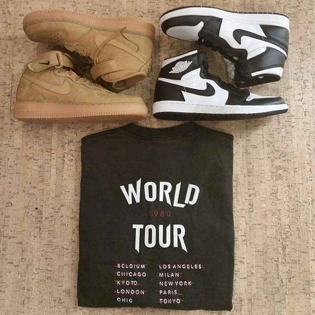 DJ Steph Floss Picks Up Nike Air Force 1 Mid Wheat & Air Jordan I 1 Retro High OG Black/White