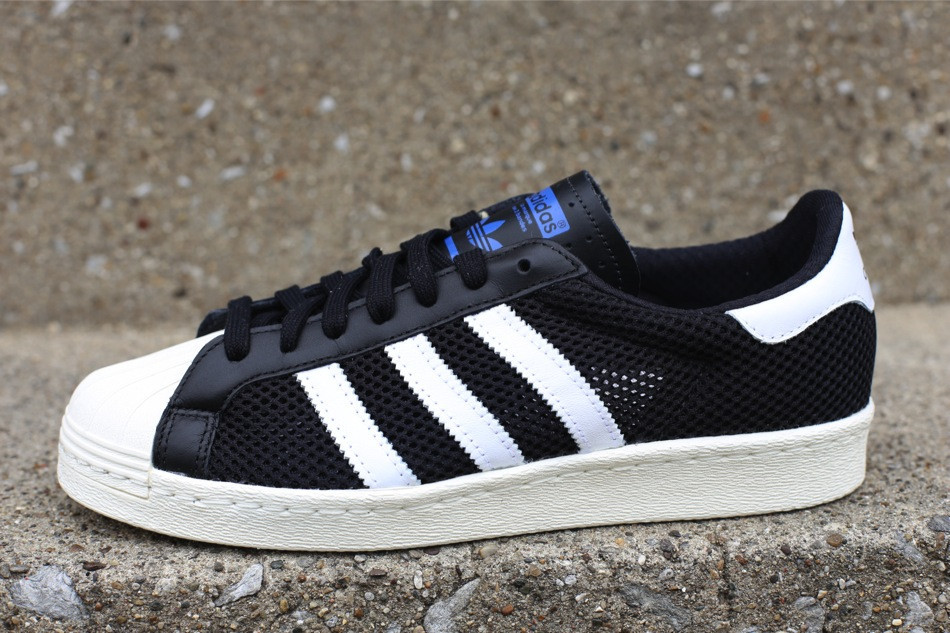 adidas Originals BLUE Superstar 80's Metal Toe Sneaker in Black