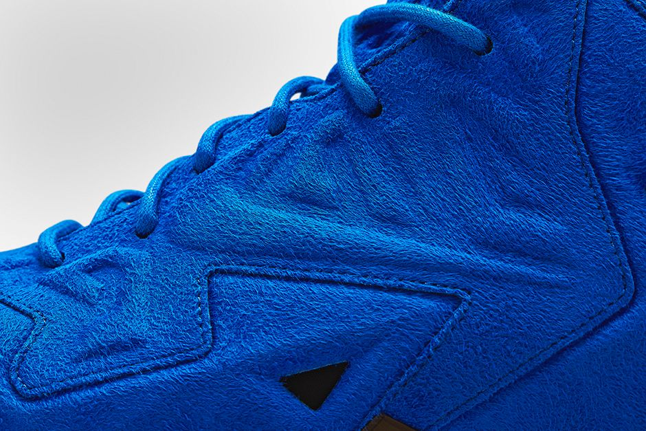 Nike LeBron 11 EXT Blue Suede Swoosh Detail