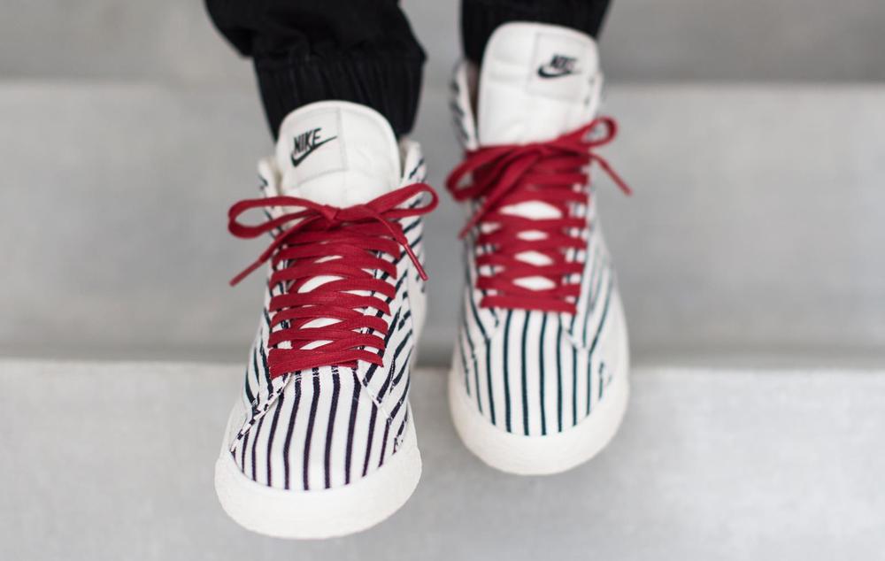 online retailer f5c7c 4b98a Nike Puts Pinstripes on the Blazer Mid