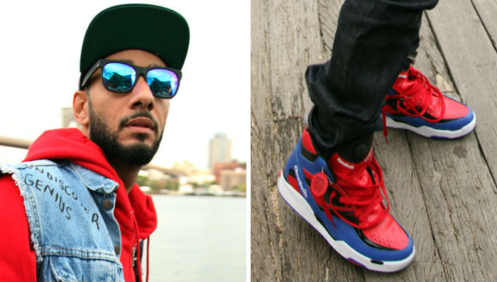 Swizz Beatz wearing Reebok Twilight Zone Pump Spider Man