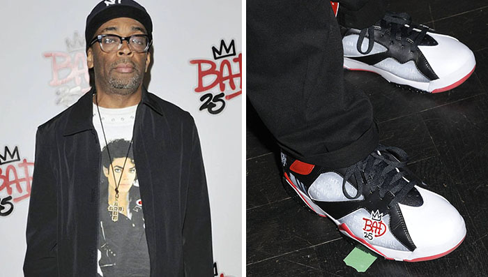 Spike Lee wearing Air Jordan VII 7 Bad 25 by Van Monroe