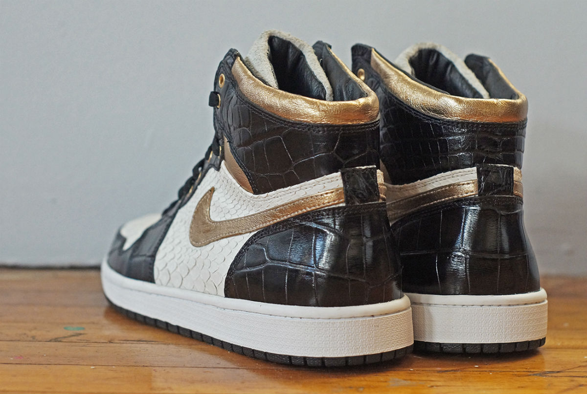 Air Jordan 1 White Python Black Croc Gold Leather by JBF Customs Heel
